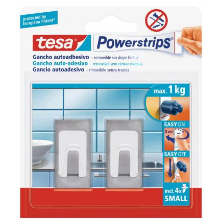 TESA Pack of 16 Small Rectangular Metal Hooks - it holds up to 1kg - 2 hooks + 4 strips - 1
