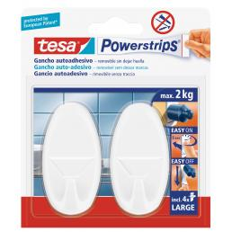 TESA Pack of 12 Large Oval Hooks - it holds up to 1kg - 2 hook + 4 strips - 1