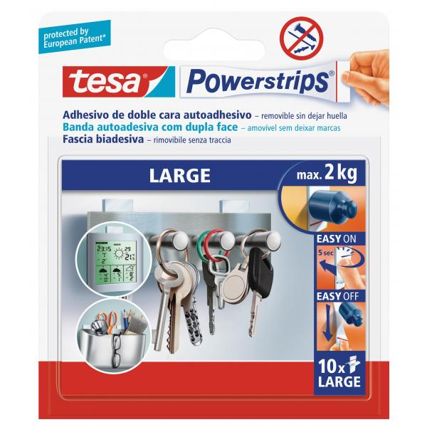 TESA 15x 10 Removable double-sided adhesive large Strips - holds up to 1.5 kg - 10 pcs - 1