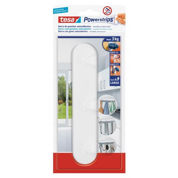 TESA Pack of 6 Self-adhesive white Hook Rack - 1 hook + 4 strips - 1