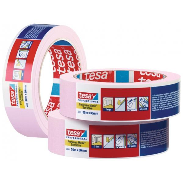 TESA High Grade Paper Tape for high precision masking applications - Pink - 1