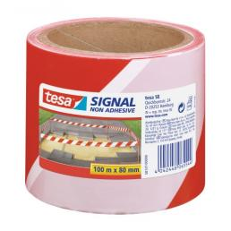 TESA Non adhesive signaling tape - White/Red - 1