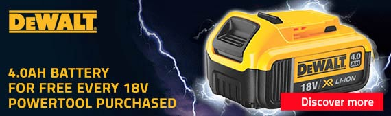 DeWalt Promo: Get a 4.0ah Battery for Free for Every 18v Powertool Purchased
