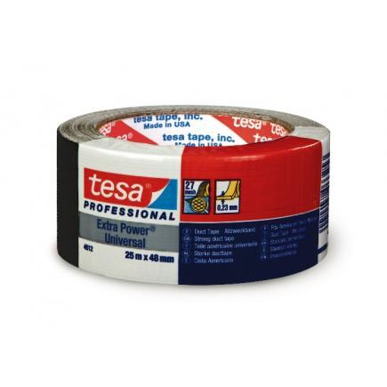 TESA Set di 6 Extra Power® Universal Nastro Americano multiuso in tessuto plastificato nero 25 mt x 48 mm. Colore Nero. - 1