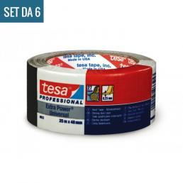 TESA Set di 6 Extra Power® Universal Nastro Americano multiuso in tessuto plastificato nero 25 mt x 48 mm. Colore Nero. - 2