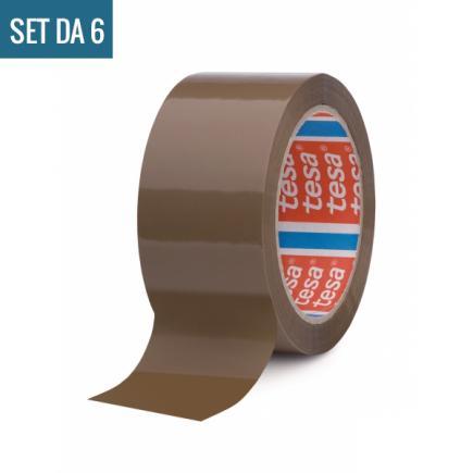 TESA Set di 6 Nastri adesivi per imballaggio rumoroso marrone 66 mt x 50 mm - 2