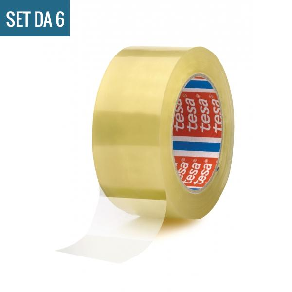 TESA Set di 6 Nastri adesivi per imballaggio rumoroso trasparente 66 mt x 50 mm - 2