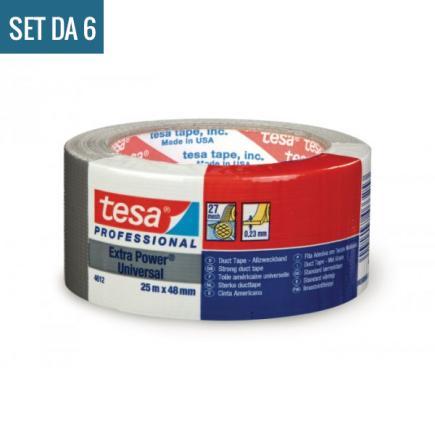 TESA Set di 6 Extra Power® Universal Nastro Americano multiuso in tessuto plastificato colore grigio 25 mt x 48 mm. Colore Silver - 2