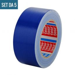 TESA Set da 5 Nastro telato standard rivestito in polietilene blu 25 mt x 50 mm - 3