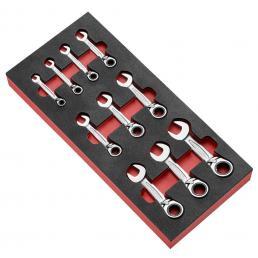 FACOM Modulo in gommapiuma da 10 chiavi combinate a cricchetto corte in pollici - 1