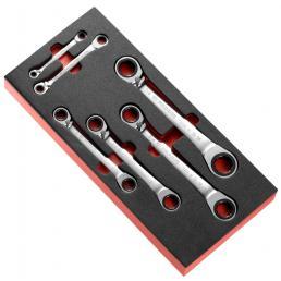 FACOM Modulo in gommapiuma da 6 chiavi poligonali a cricchetto inclinate a 15° in pollici - 1
