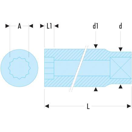 Facom R.10E-Bussola 1//4 12C 10 Mm
