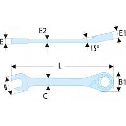 FACOM 467 Clés mixtes à cliquet en pouces RFID - 1