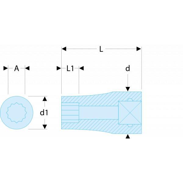 """FACOM R.1/2ELRFID - R.EL Bussole 1/4"""" lunghe poligonali in pollici RFID - 1"""