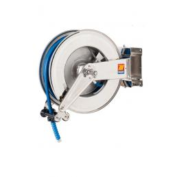MECLUBE Avvolgitubo orientabile INOX AISI 304 PER ACQUA 150° C 200 bar Mod. SX 555 CON TUBO 30 m ø 1/2 - 1
