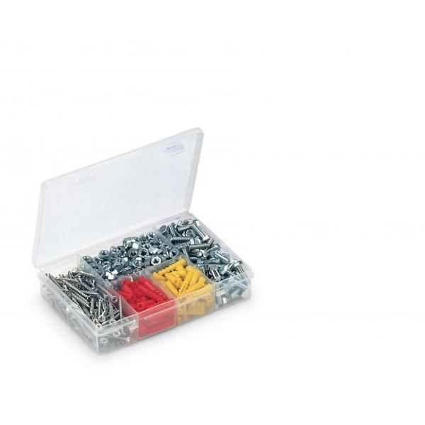 TERRY Organizer in plastica con coperchio - 5 scomparti trasparente - 1