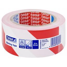 TESA Nastro adesivo per segnalazione di superfici in PVC bianco/rosso - 1