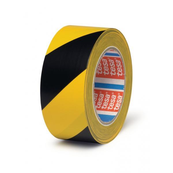 TESA Nastro adesivo per marcatura pavimenti giallo/nero 33 mt x 50 mm - 1