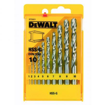 DeWALT Set 10 punte HSS-G in cassettina di plastica - 1